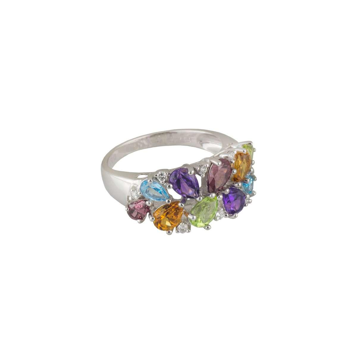 18k White Gold Diamond & Multi-Gem Ring